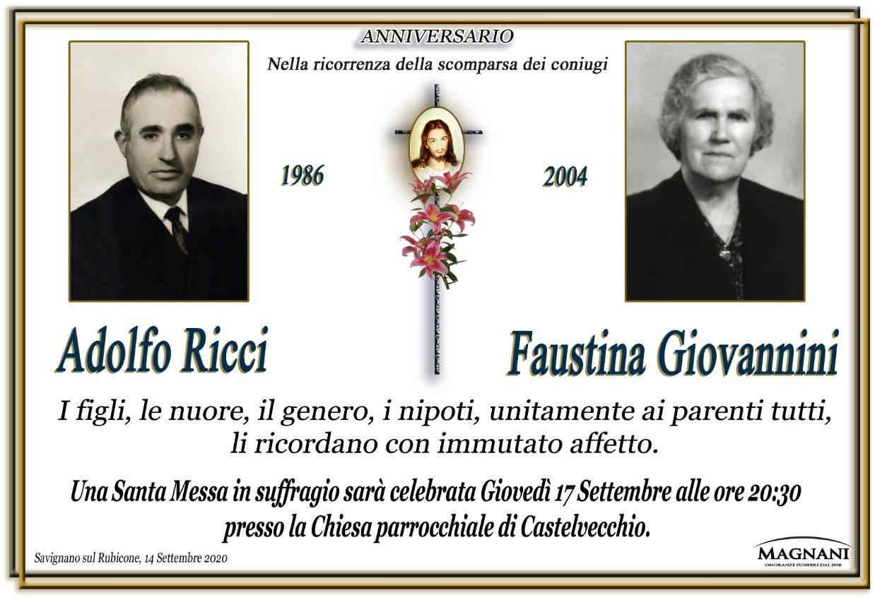 Coniugi Adolfo Ricci e Faustina Giovannini